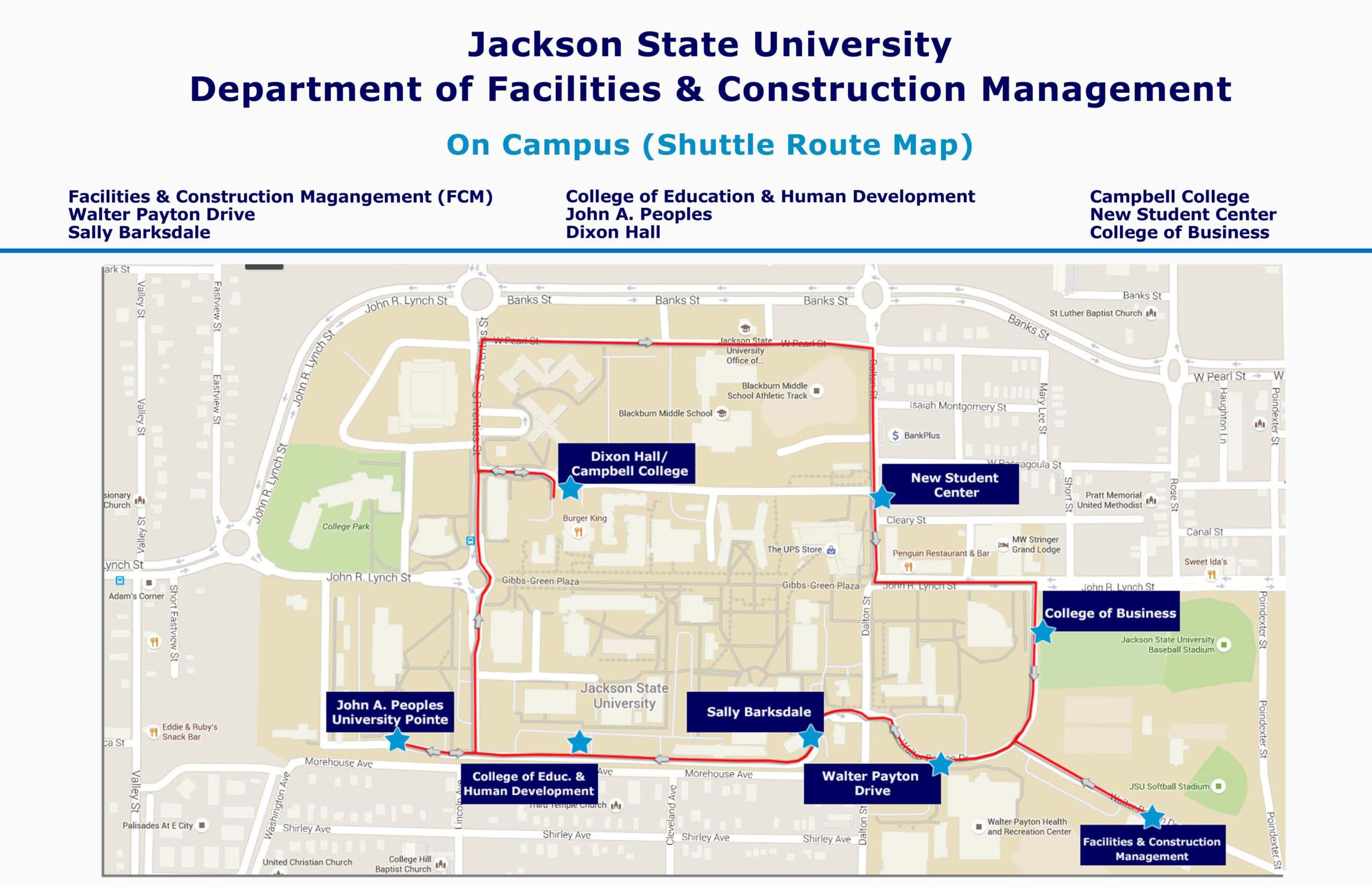 jackson state university campus map Jsu Main Campus Shuttle Schedule Department Of Facilities And jackson state university campus map
