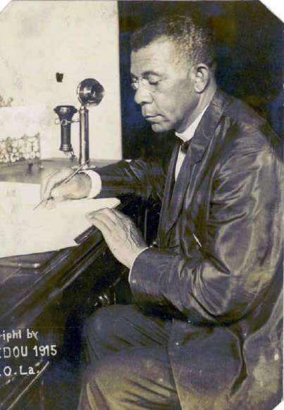 Booker T. Washington with telephone